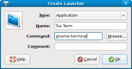 Create a Launcher for Tux Term