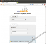 phpMyAdmin login screen